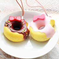 cute hello kitty doughnut squishy phone strap