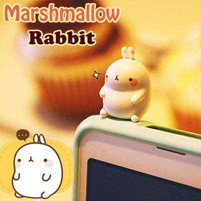 bunny cute i phone plug marshmallow kawaii rabbit phone accessory shop