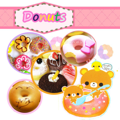 donut doughnuts squishy lot bun bread kawaii cute squishies collection set