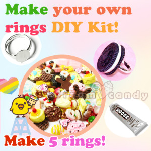 DIY ring deco cabochon kit making rings gifts