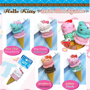 licensed hello kitty double scoop ice cream accessory gift authentic sanrio kawaii cute squishy