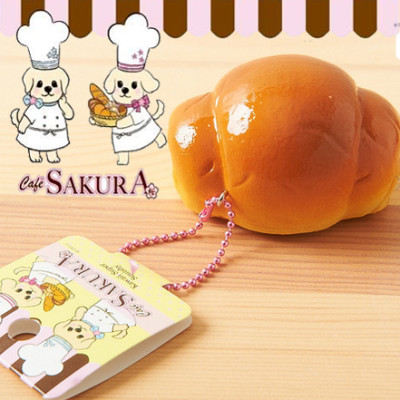 cafe sakura bread roll squishy plain