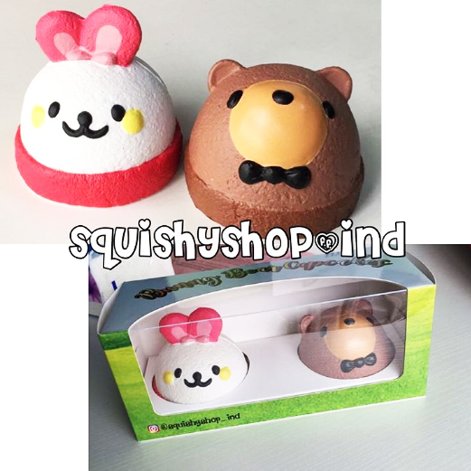 Squishy Ind : RARE Squishyindshop set licensed bunny bear cupcake squishy *scented*